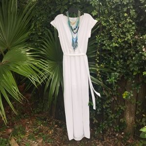 Express Faux-Wrap White Maxi Dress w/ Short Lining